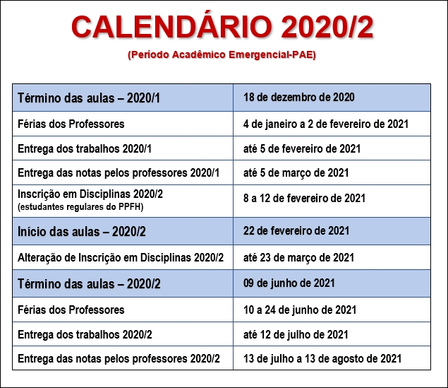 Calendario 2020-2