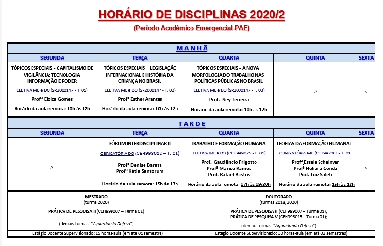 Quadro de Horarios 2020-2